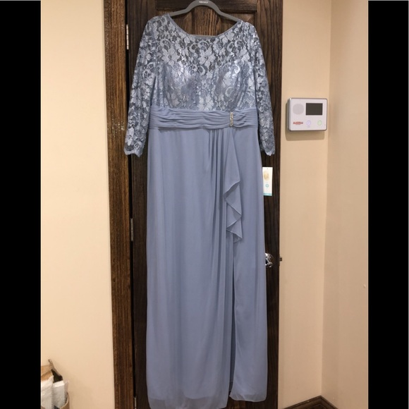 Formal Dress Plus Size 18 Blue w/ Sleeves Maxi NEW NWT
